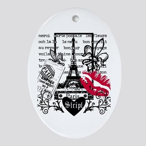 Paris Postcard Oval Ornament