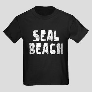 Seal Beach Faded (Silver) Kids Dark T-Shirt