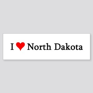 I Love North Dakota Bumper Sticker