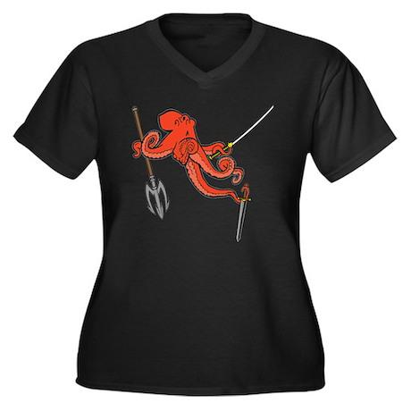 octopus ninja Women's Plus Size V-Neck Dark T-Shir