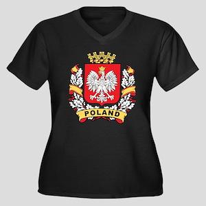 Stylish Poland Crest Women's Plus Size V-Neck Dark