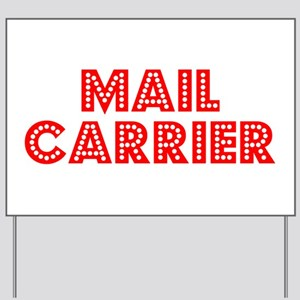 Retro Mail carrier (Red) Yard Sign