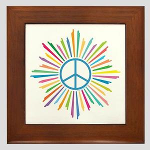 Peace Symbol Star Framed Tile