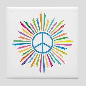 Peace Symbol Star Tile Coaster
