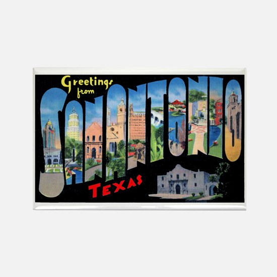 San Antonio Texas Greetings Rectangle Magnet (10 p
