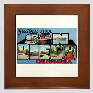San Diego California Greetings Framed Tile
