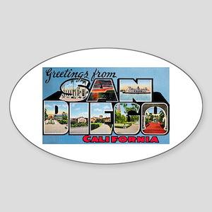 San Diego California Greetings Oval Sticker