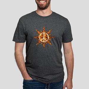 Flaming Peace Sun Mens Tri-blend T-Shirt