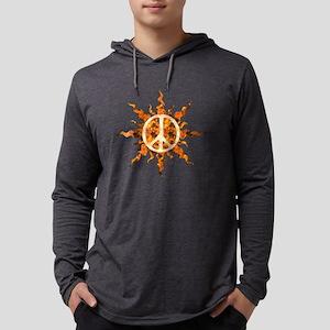 Flaming Peace Sun Mens Hooded Shirt