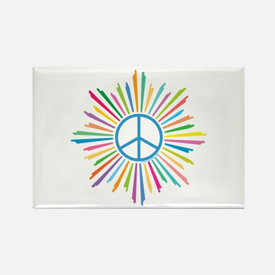Peace Symbol Star Rectangle Magnet