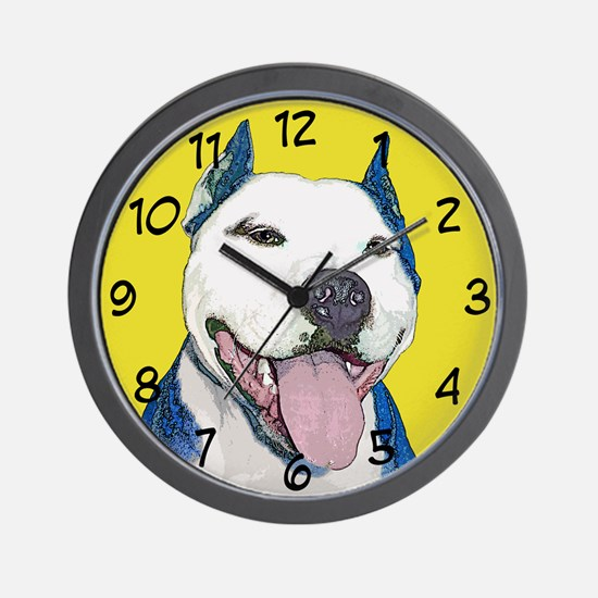 Pop Art Pit Bull Wall Clock