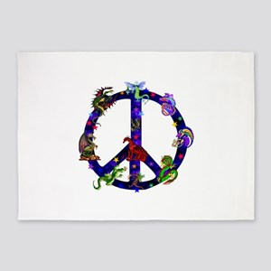 Dragons Peace Sign 5'x7'Area Rug
