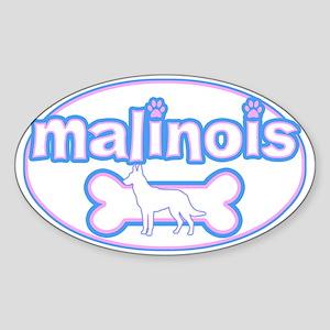 Powderpuff Malinois Oval Sticker