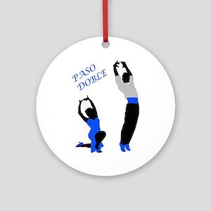 Paso Doble Dancers Blue Round Ornament