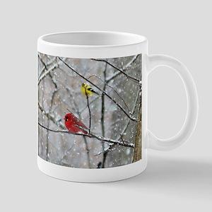 Goldfinch and Cardinal Mugs