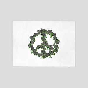 Black Peace Roses 5'x7'Area Rug