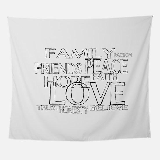 FAITH LOVE FAMILY FRIENDS Wall Tapestry