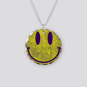 Happy FACE Yellow Purple Sto Necklace Circle Charm