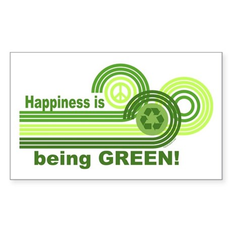 Happiness Being Green Rectangle Sticker