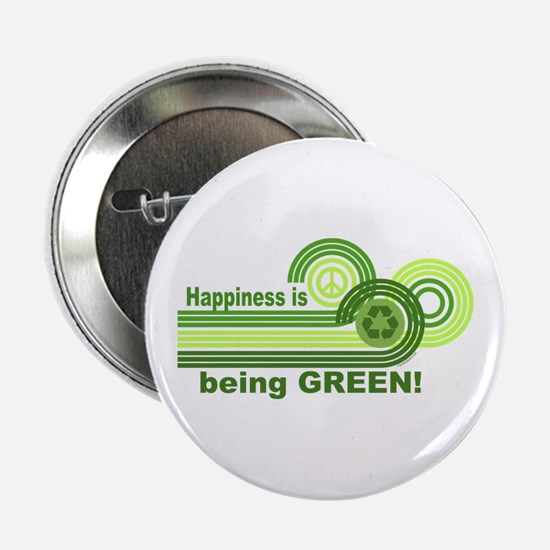 """Happiness Being Green 2.25"""" Button"""