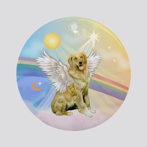 Clouds/Golden Retriever(banjo) Ornament (Round)