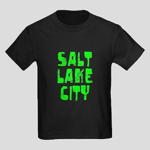 Salt Lake City Faded (Green) Kids Dark T-Shirt