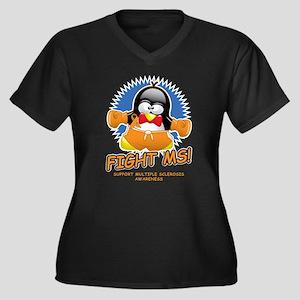 Fight MS Penguin Women's Plus Size V-Neck Dark T-S
