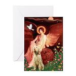 Seated Angel /Italian Spinone Greeting Card