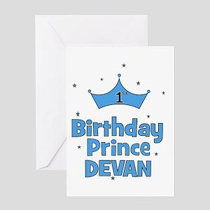 1st Birthday Prince - DEVAN! Greeting Card