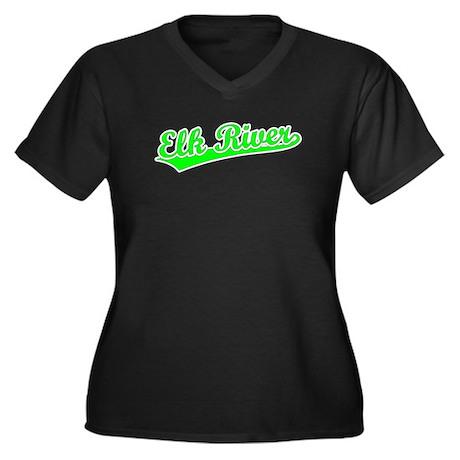 Retro Elk River (Green) Women's Plus Size V-Neck D