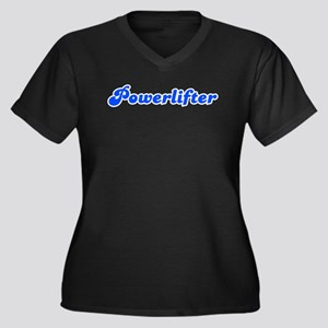Retro Powerlifter (Blue) Women's Plus Size V-Neck