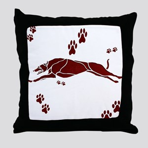 Running Grey (maroon) Throw Pillow