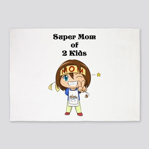 Super Mom of 2 Kids 5'x7'Area Rug