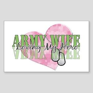 Army Wife Loving My Hero Rectangle Sticker