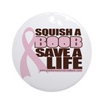 Save a Life Pink Ribbon Ornament (Round)