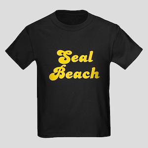 Retro Seal Beach (Gold) Kids Dark T-Shirt