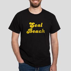 Retro Seal Beach (Gold) Dark T-Shirt