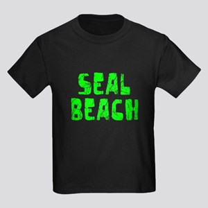 Seal Beach Faded (Green) Kids Dark T-Shirt