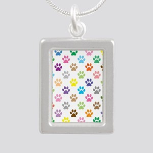 Colorful puppy paw print pattern Necklaces