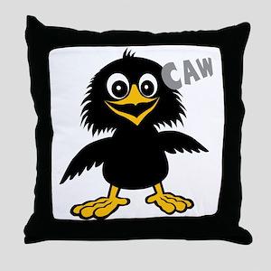 Funny Crow Throw Pillow