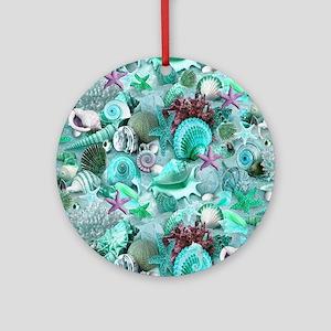 Green Seashells And starfish Round Ornament
