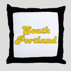 Retro South Portland (Gold) Throw Pillow