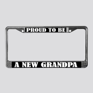 Proud New Grandpa License Plate Frame