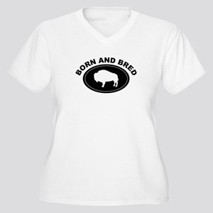 BORN AND BRED BUFFALO Women's Plus Size V-Neck T-S