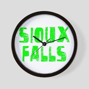 Sioux Falls Faded (Green) Wall Clock