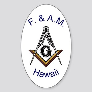 Hawaii Square and Compass Oval Sticker