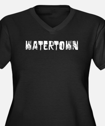 Watertown Faded (Silver) Women's Plus Size V-Neck