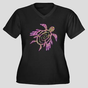 Winged Turtle Women's Plus Size V-Neck Dark T-Shir