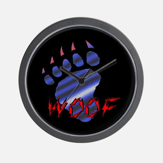 WOOF/LEATHER PRIDE BEAR PAW/B Wall Clock