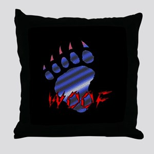 WOOF/LEATHER PRIDE BEAR PAW/B Throw Pillow